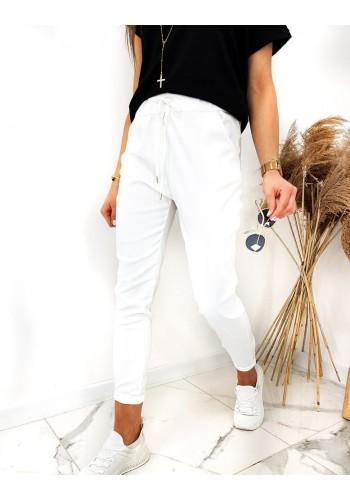 Klasické dámské kalhoty bílé barvy s vázáním