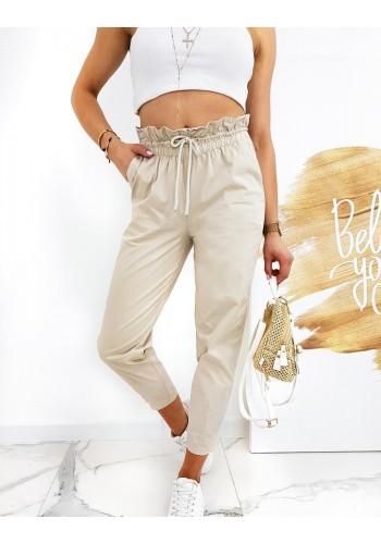 Dámské pohodlné kalhoty s ozdobným nařasením v světle béžové barvě