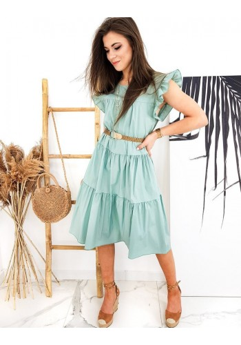 Dámské letní šaty s pleteným páskem v světle zelené barvě