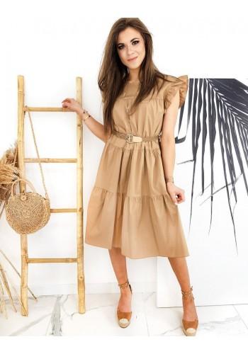 Hnědé letní šaty s pleteným páskem pro dámy