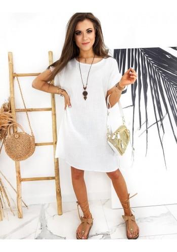 Dámské volné šaty s přívěskem v bílé barvě