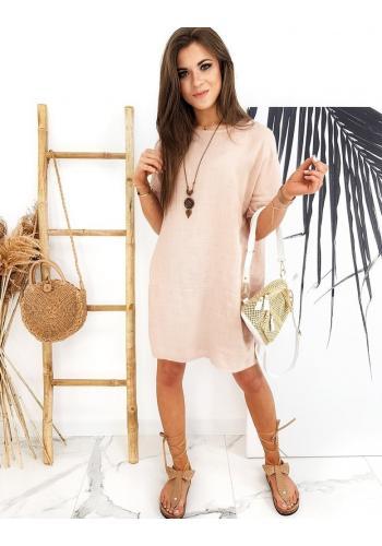 Volné dámské šaty broskvové barvy s přívěskem