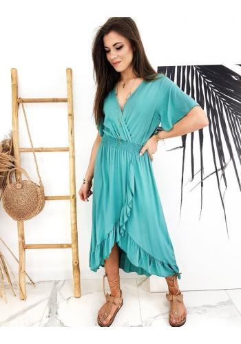 Asymetrické dámské šaty mořské barvy s obálkovým výstřihem
