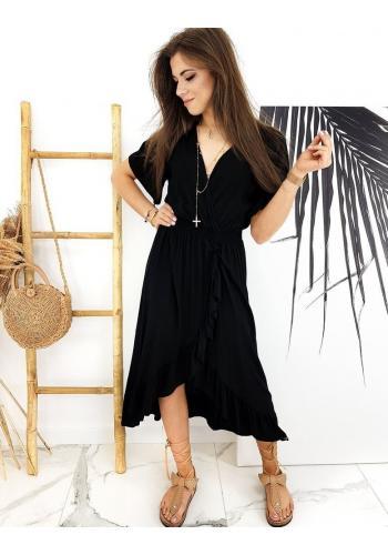 Černé asymetrické šaty s obálkovým výstřihem pro dámy