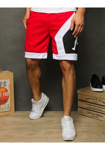 Červené sportovní kraťasy s potiskem pro pány