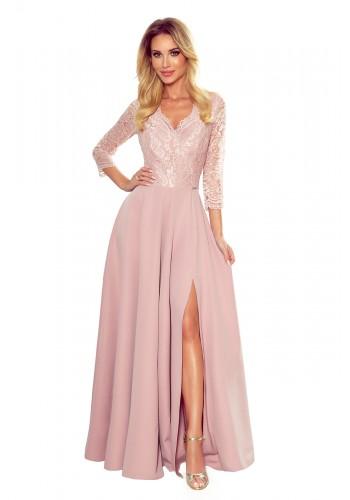 Práškově růžové dlouhé šaty s krajkou pro dámy