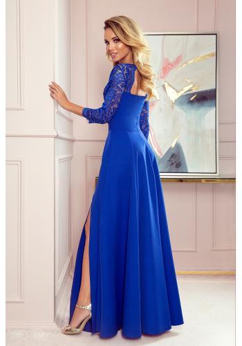 Dámské dlouhé šaty s krajkou v modré barvě