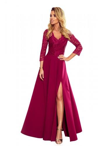 Dlouhé dámské šaty vínové barvy s krajkou