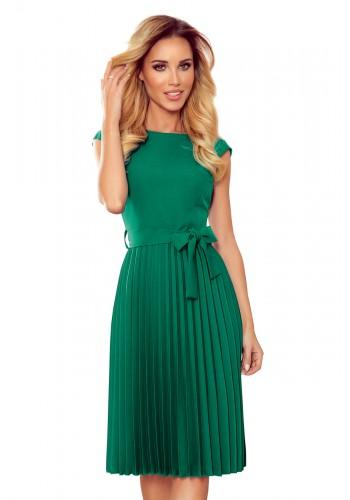 Zelené plisované šaty s krátkým rukávem pro dámy