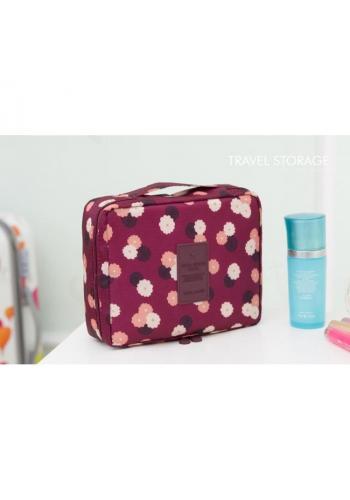 Bordová kosmetická taška pro dámy s květinovým motivem
