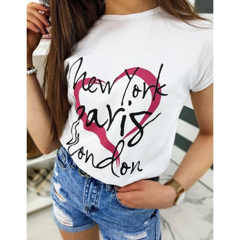 Dámské klasické trička s potiskem v bílé barvě
