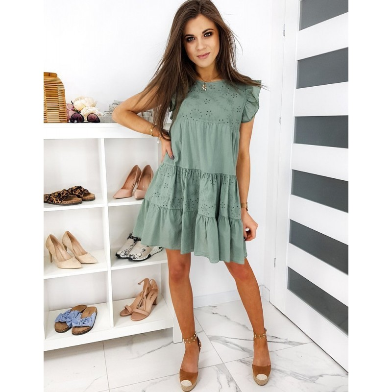 Olivové letní šaty s volnějším střihem pro dámy