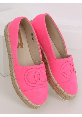 Neonově růžové semišové espadrilky na vysoké podrážce pro dámy
