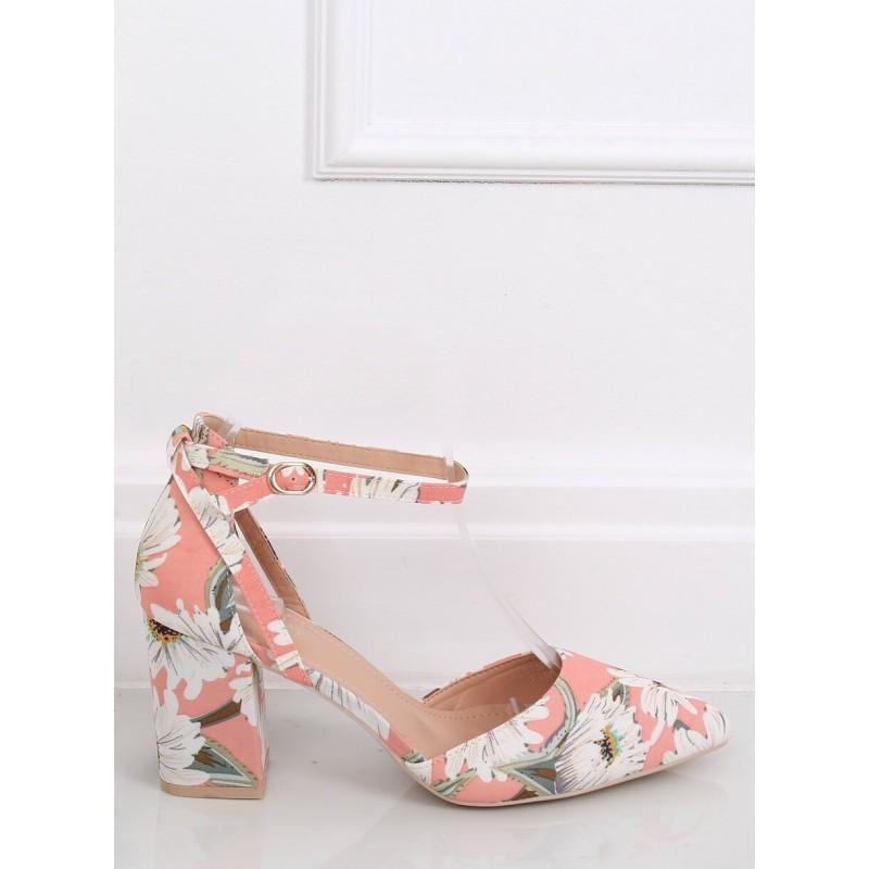 Růžové květované lodičky na stabilním podpatku pro dámy