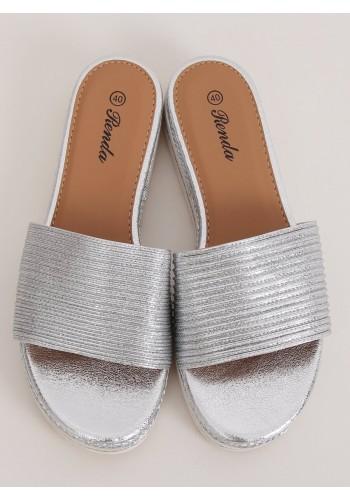 Stříbrné módní pantofle s nízkým klínovým podpatkem pro dámy
