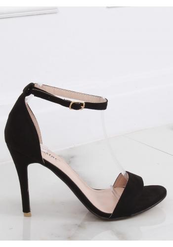 Dámské semišové sandály na štíhlém podpatku v černé barvě
