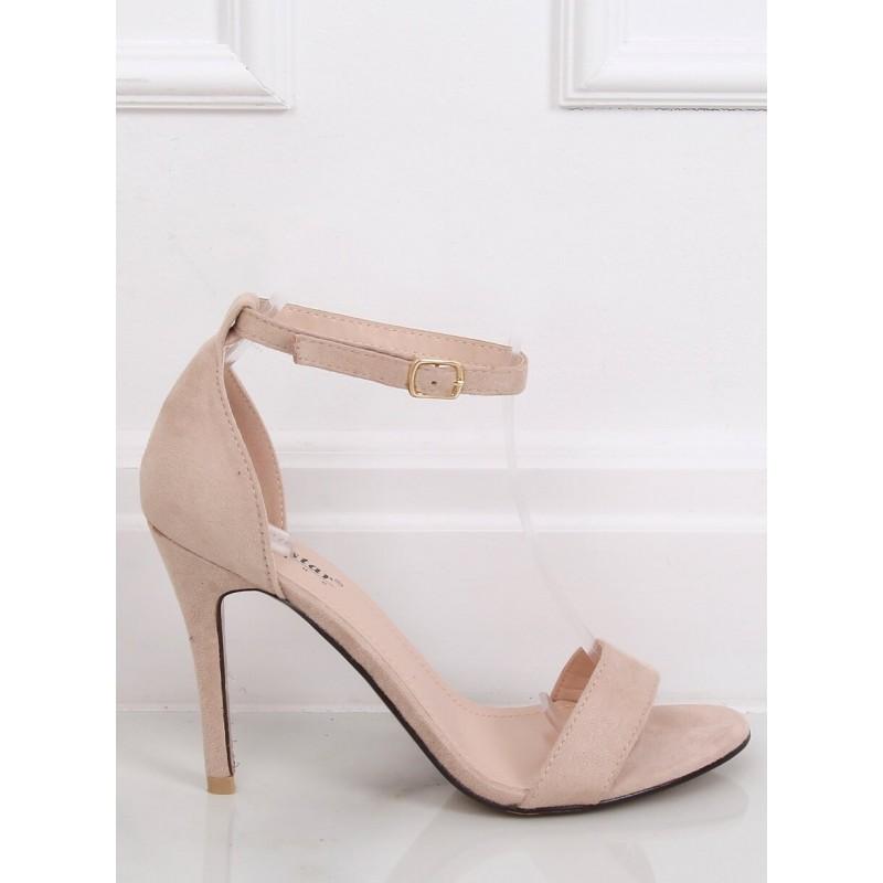 Semišové dámské sandály béžové barvy na štíhlém podpatku