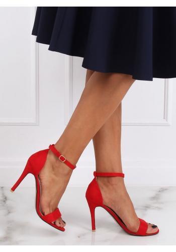 Červené semišové sandály na štíhlém podpatku pro dámy