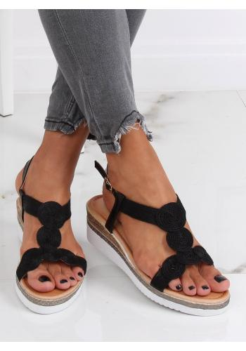 Dámské metalické sandály na nízkém klínovém podpatku v černé barvě