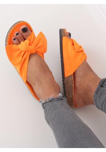 Semišové dámské pantofle oranžové barvy na korkové podrážce