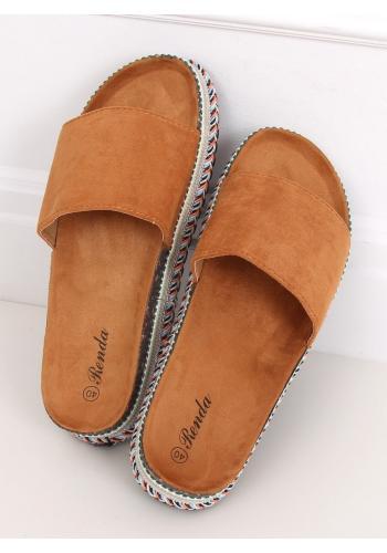Dámské semišové pantofle na vysoké podrážce v hnědé barvě