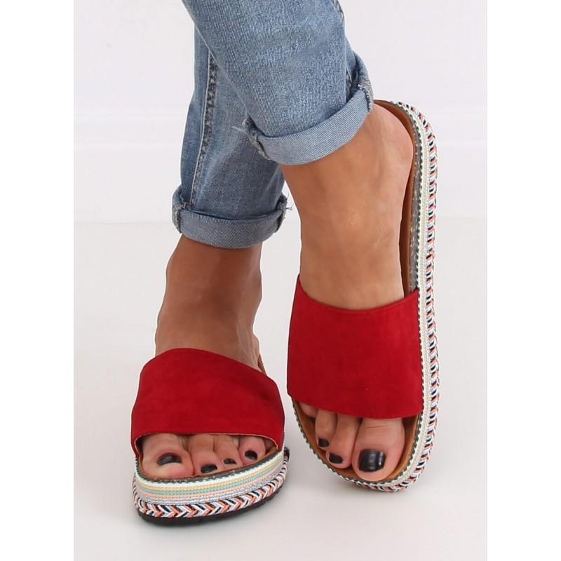 Červené semišové pantofle na vysoké podrážce pro dámy