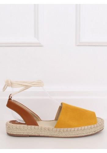 Dámské letní espadrilky s vázáním kolem kotníku ve žluté barvě