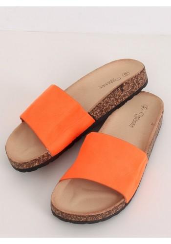 Dámské semišové pantofle na korkové podrážce v oranžové barvě