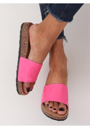 Růžové semišové pantofle na korkové podrážce pro dámy