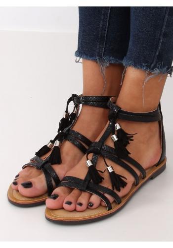 Dámské stylové boho sandály s třásněmi v černé barvě
