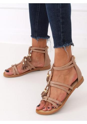 Stylové dámské boho sandály béžové barvy s třásněmi