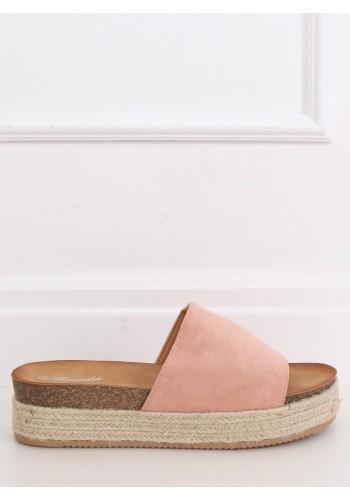 Dámské semišové pantofle na vysoké podrážce v růžové barvě