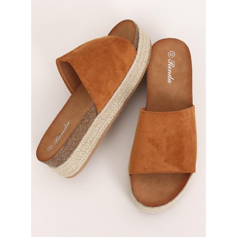 Hnědé semišové pantofle na vysoké podrážce pro dámy