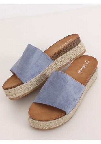 Dámské semišové pantofle na vysoké podrážce v světle modré barvě