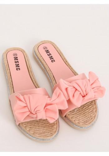 Letní dámské pantofle růžové barvy s mašlí