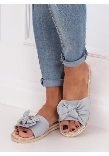 Šedé letní pantofle s mašlí pro dámy
