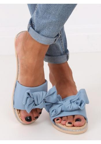 Dámské letní pantofle s mašlí v světle modré barvě