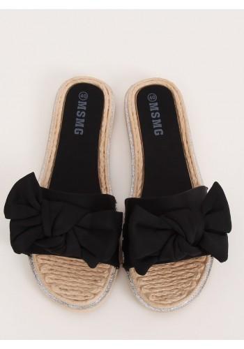 Letní dámské pantofle černé barvy s mašlí