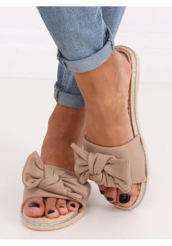 Béžové letní pantofle s mašlí pro dámy