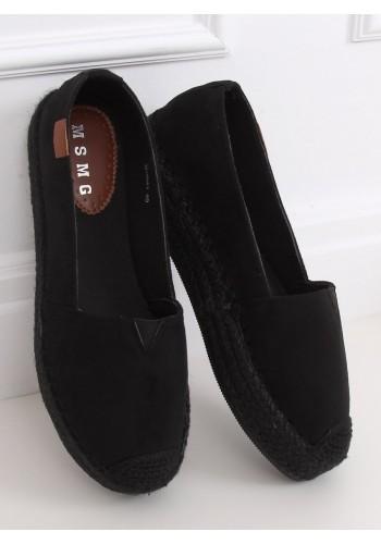 Semišové dámské espadrilky černé barvy s vysokou podrážkou