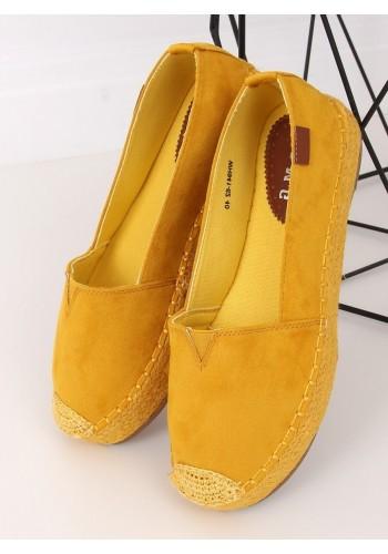 Žluté semišové espadrilky s vysokou podrážkou pro dámy