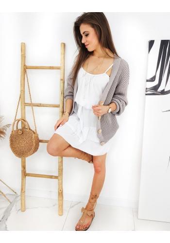 Dámský stylový svetr s velkými knoflíky v béžové barvě