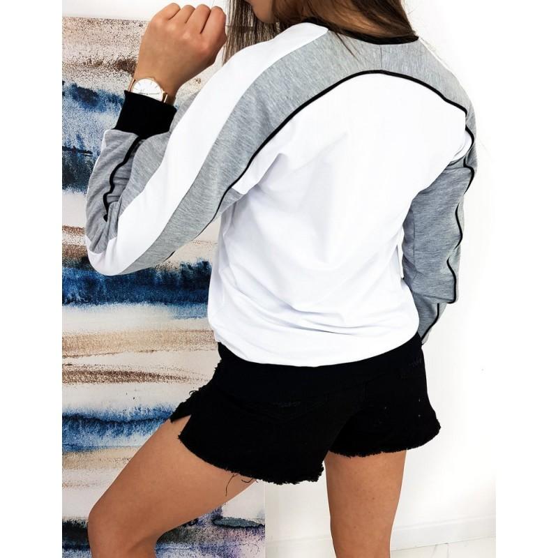 Sportovní dámská mikina bílé barvy bez kapuce