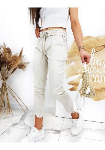 Béžové stylové kalhoty s vázáním v pase pro dámy