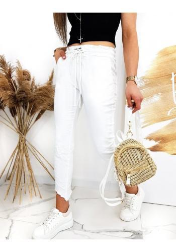 Bílé stylové kalhoty s vázáním v pase pro dámy