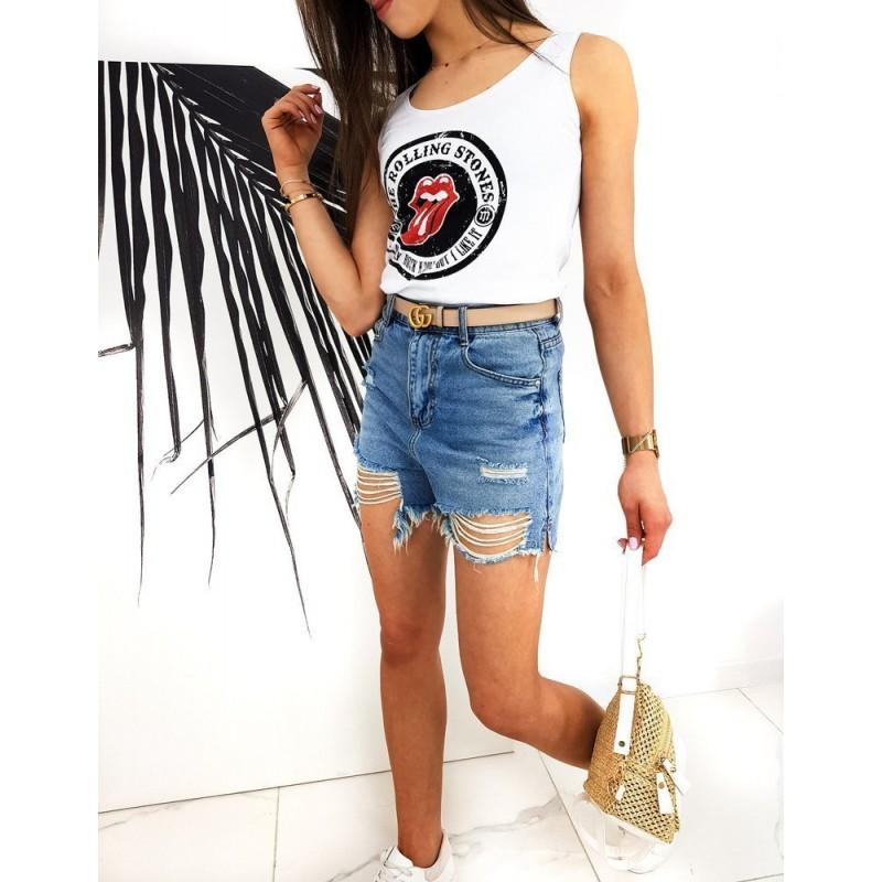 Bílé stylové tričko s potiskem The Rolling Stones pro dámy