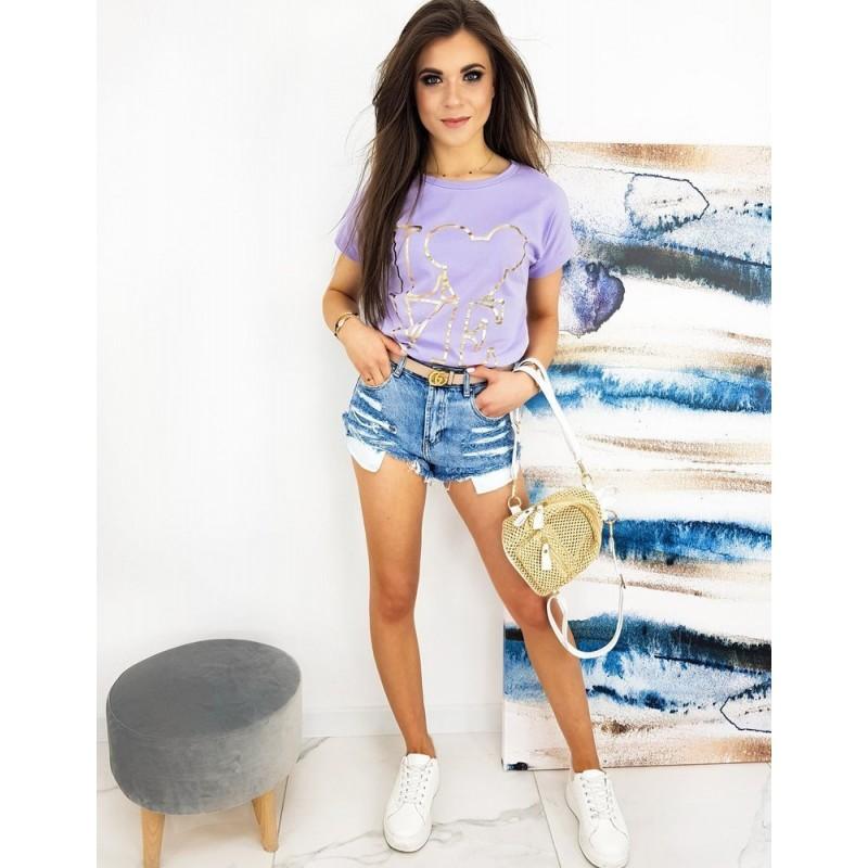 Dámské klasické tričko se zlatým potiskem ve fialové barvě