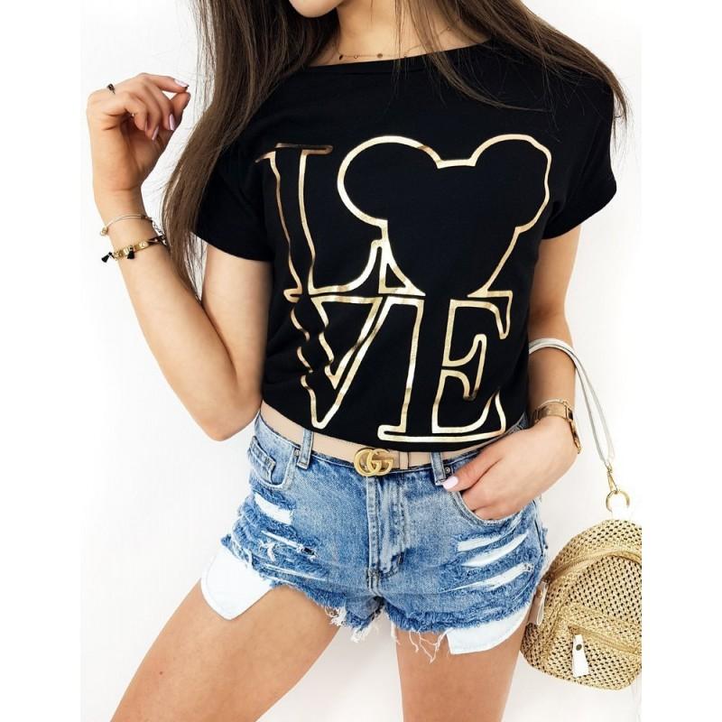 Černé klasické tričko se zlatým potiskem pro dámy