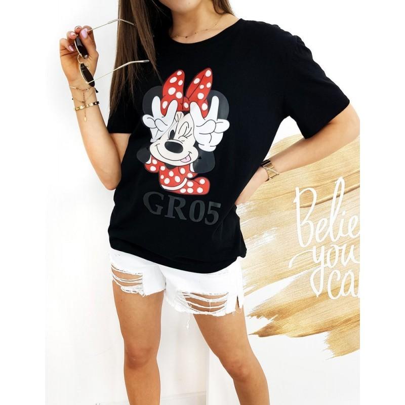 Dámské klasické tričko s potiskem Minnie v černé barvě