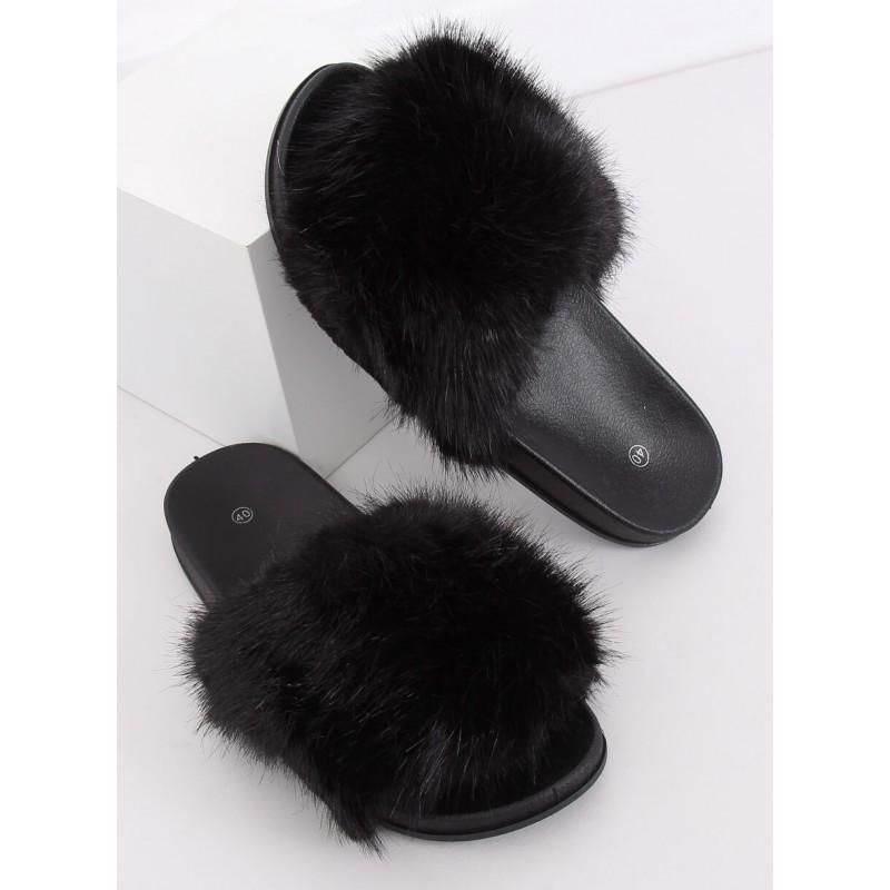 Dámské módní pantofle s kožešinou v černé barvě